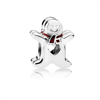 Pandora Sweet Gingerbread Man Charm, Translucent Red Enamel 7920
