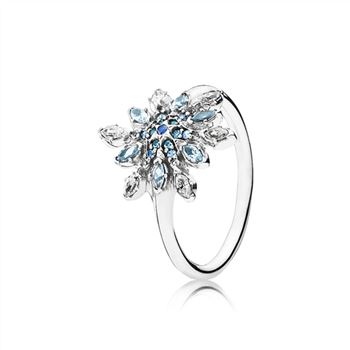 Pandora Crystalized Snowflake Ring, Blue Crystals & Clear CZ 190