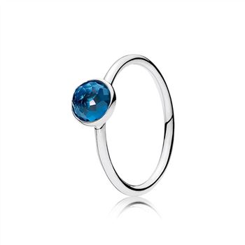 Pandora December Droplet Ring, London Blue Crystal 191012NLB