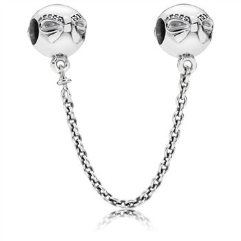 Pandora Bow silver safety chain with clear cubic zirconia 791780