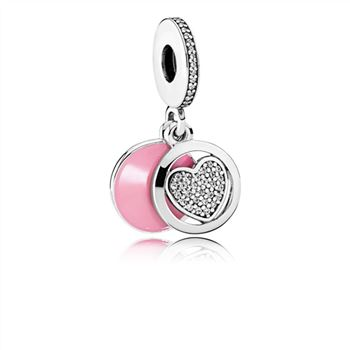 Pandora Devoted Heart Dangle Charm, Pink Enamel & Clear CZ 79214